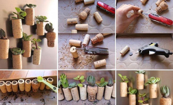 Mini vasinhos com rolha de vinho e suculentas.