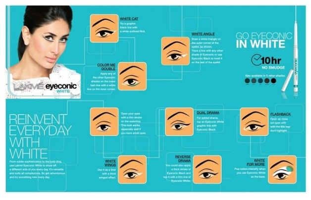 "atasha Nischol, Lakmé Make-up Expert mentions, "", ""The new range of Eyeconic is extremely unique and promising. White is an exciting color for the eyes, which can be used in the waterline to open up your eyes, or in the inner corners for the hint of brightness. Alternately you could also use it on the upper eye lids alone or with another color for a more dramatic effect. We have crafted some amazing looks with Kareena Kapoor to showcase the potential of this unusual color"""