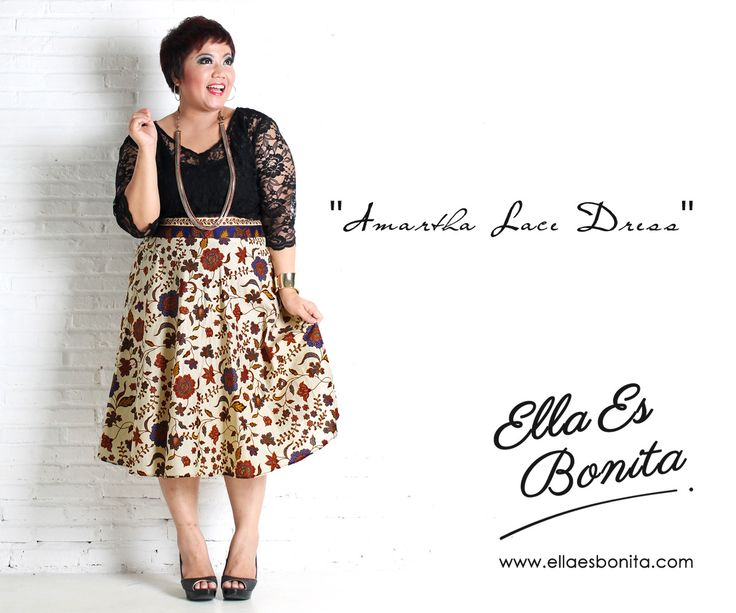 Amartha Lace Dress - This vintage batik lace dress features high quality brocade lace for the tops and batik cotton for the skirt which specially designed for sophisticated curvy women originally made by Indonesian Designer & Local Brand: Ella Es Bonita. Available at www.ellaesbonita.com