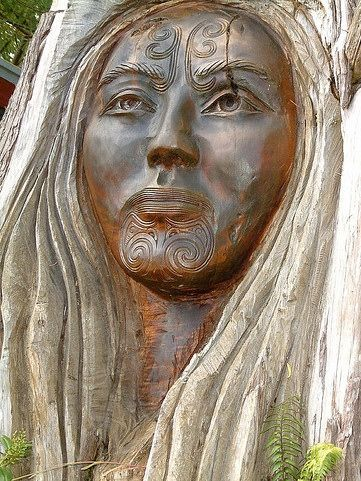 Papataunuku, Maori Earth Goddess from Creation Myth. Image is from a wood carving of Rangi and Papatuanuku in Nelson NZ