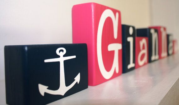 Reserved for C - PERSONALIZED LETTER BLOCKS - Baby Shower Gift - Birthday Party Centerpiece - Nautical Anchor Name - Nursery Decoration Sign