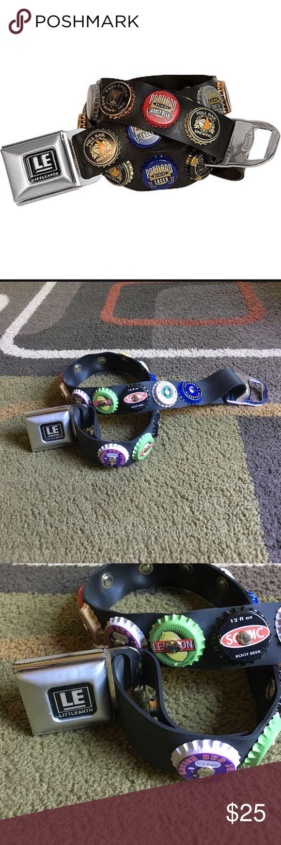 "Littlearth belt😊 Super cute bottlecap style belt with seatbelt style buckle😊 Silver hardware😊 belt strap without buckle measures approx 26.5"" 😊 belt is size Small Littlearth Accessories Belts"