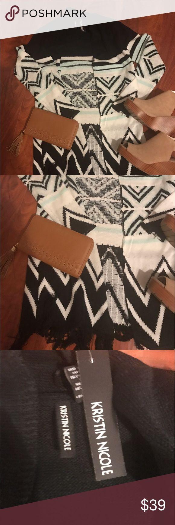 NWT Aztec Print Cardigan NWT Black, White and Mint Aztec Print Cardigan with Fringe Bottom Sweaters Cardigans