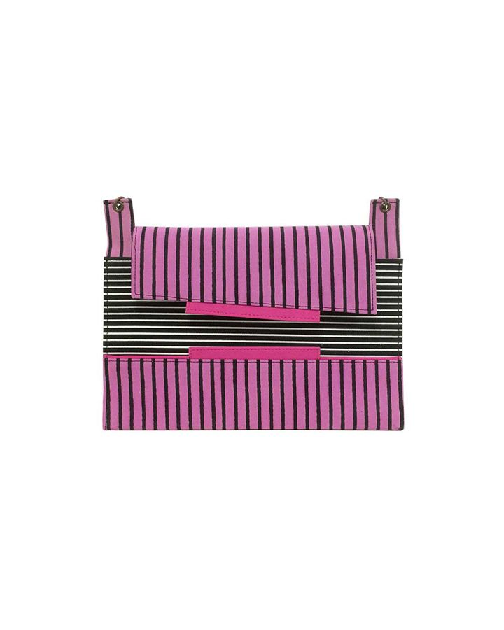 Purple medium clutch bag with black and white details, made of fabric with adjustable length straps. Handmade in Greece. #DesignerBags #bags #SS17 #Fashion #purple #DoTwist #DoTwistFashion
