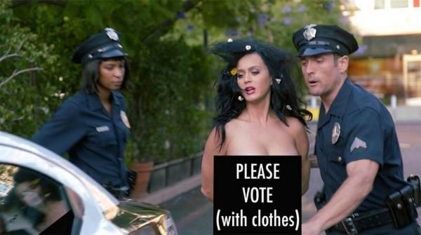 Katy Perry, Funny Or Die's 'Everyone Votes campaign' Telanjang Di Depan Umum Di Tangkap Polisi [Video] | infokami.com
