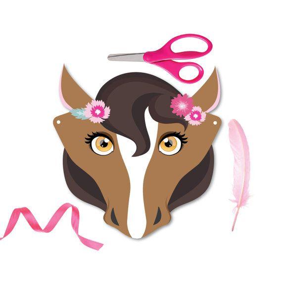 4 Horse Masks DIY paper horse masks party favor by crazyfoxpaper