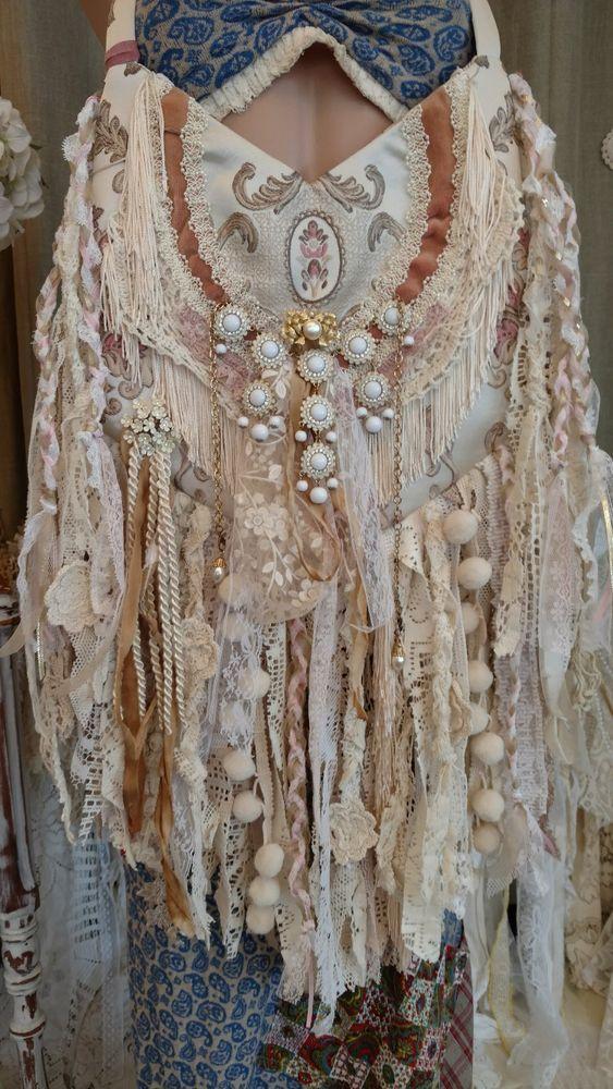 Handmade Vintage Lace Fringe Bag Victorian Hippie Boho Wedding Purse OOAK tmyers #HandmadebyTraciMyersMe #ShoulderBag