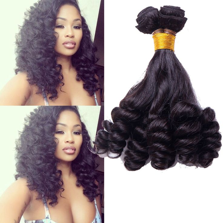 Stylish Brazilian Human Hair Extension Natural Black Funmi Curly Afro Pop Wefts #wigiss #HairExtension