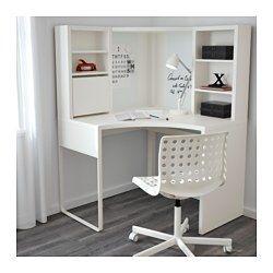 IKEA - MICKE, Posto de trabalho de canto, pret-cast, , Mantenha a sua secretária livre de papéis, escrevendo as suas notas no quadro magnético para escrever. Ou fixando a sua lista de tarefas com um íman.Pode regular as prateleiras, adaptando-as a objetos de diferentes tamanhos, e reorganizá-las sempre que quiser. As prateleiras reguláveis ajudam a ter um espaço mais eficiente.Graças à abertura atrás, é fácil ocultar os cabos e fichas, mantendo-os acessíveis.Pode montar as pernas à direita…