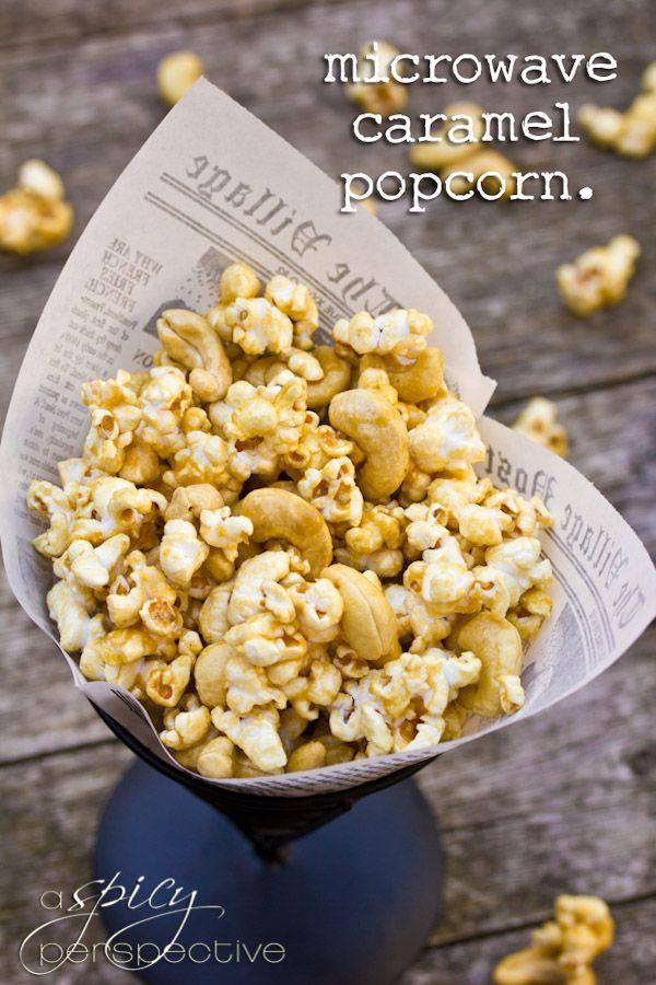 Easy Microwave Caramel Corn Recipe ~ Makes great Edible Gifts! | ASpicyPerspective.com #christmas #ediblegifts #caramelcorn