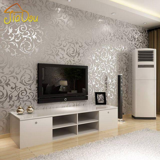 Europa del damasco del oro de plata en relieve de vinilo 3D fondo de la pared del rollo de papel salón dormitorio sofá TV telón de fondo papel decoración para el hogar