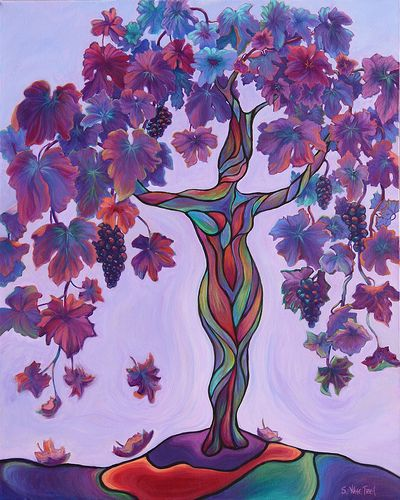 """Bella di Vino"", a Wine Goddess, 30x24 acrylic ©Sandi Whetzel $1495. Imagine this printed on shiny metal! See reproduction options at www.Sandi-Whetzel.Artistwebsites.com"