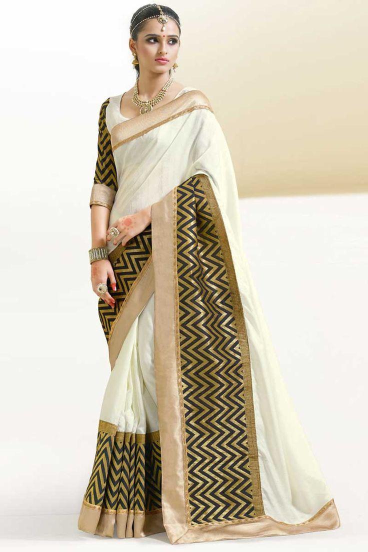 #AndaazFashion Présente soie blanche d'art sari avec chemisier  http://www.andaazfashion.fr/womens/sarees/white-art-silk-saree-with-blouse-dmv8553.html