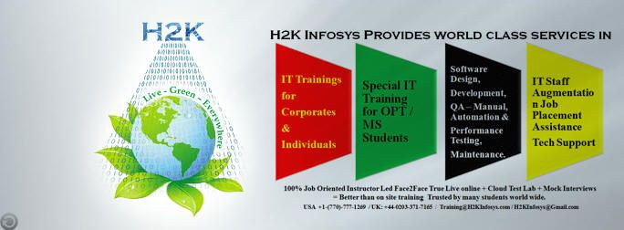 H2kinfosys is offering job oriented .net online training across the world through certified IT professionals.