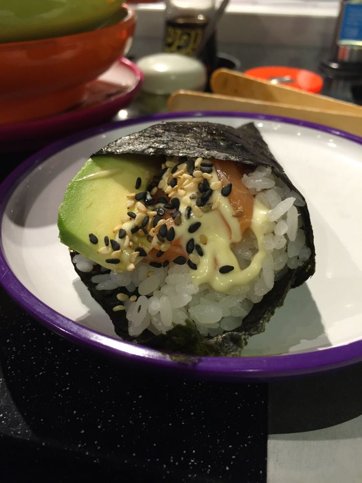 A Japanese Hand Roll over at Yo! Sushi. Filled with goodness and wonderful ingredients.