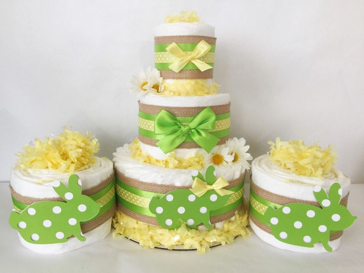 SET OF 3 Spring Diaper Cakes, Spring Theme Baby Shower Centerpieces, Easter  Decorations By