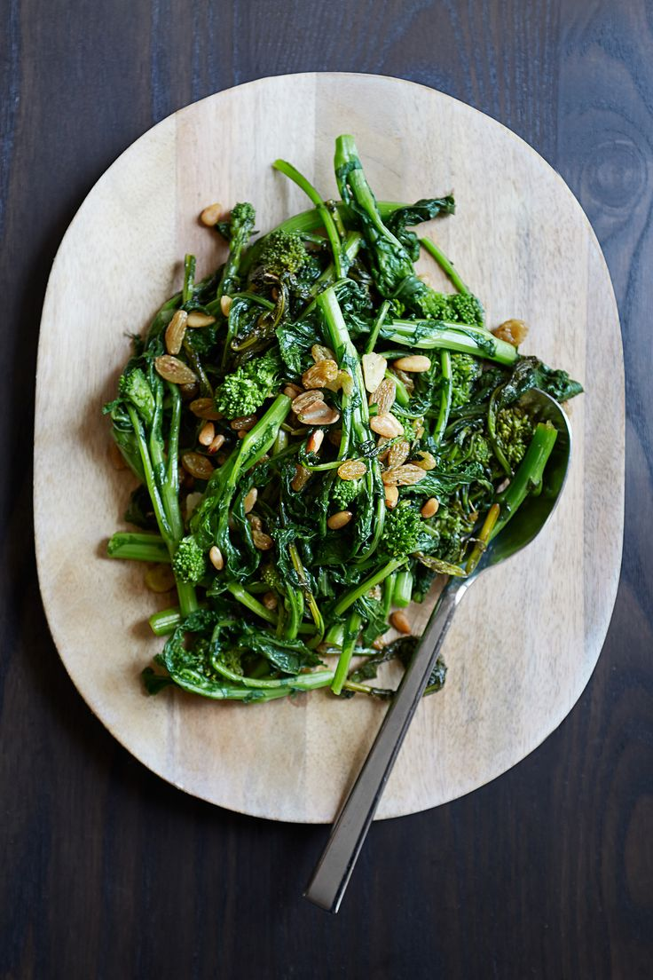 Sweet golden raisins, red pepper flakes, and toasted pine nuts balance the bitterness of broccoli rabe in a side dish adapted from Anna Watson Carl's cookbook The Yellow Table. It makes an excellent accompaniment to grilled salmon, pork tenderloin, or meatballs with tomato sauce.