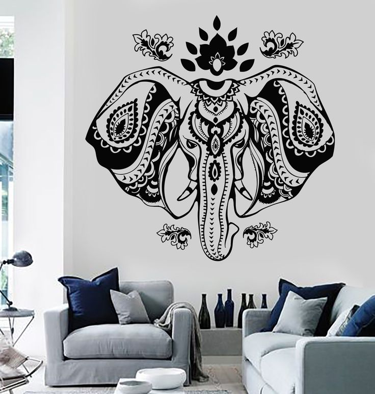 Vinyl Wall Decal Indian Elephant Head Lotus Hindu Symbol Stickers (720ig)