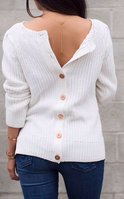 White Knit Back Button Up Sweater