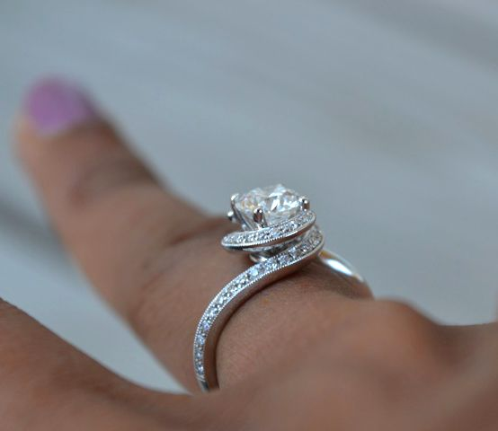 Swirl Halo Engagement Ring • Image by Cooks http://www.jamesallen.com/engagement-rings/pave/platinum-enclosed-pave-halo-item-8146