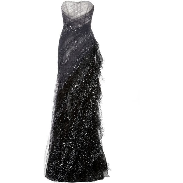 Pamella Roland Sequin Embroidered Hand Draped Gown ($7,370) found on Polyvore featuring women's fashion, dresses, gowns, grey, embellished dress, embroidered dress, sequin evening gowns, strapless ball gown and embelished dress