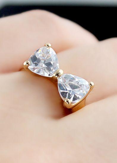 anillos con piedras en forma de moñito