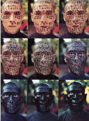 "art chinois contemporain : performance, body art, Zhang Huan, ""Family Tree"", 2000, peinture sur peau, calligraphie"
