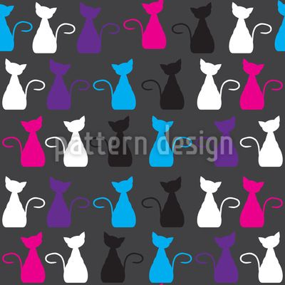 #Kittens A La #Francaise #Repeat #Pattern #cats #animals #kitten #cute #funny #vector #RF #tile #tileable #seamless #pattern