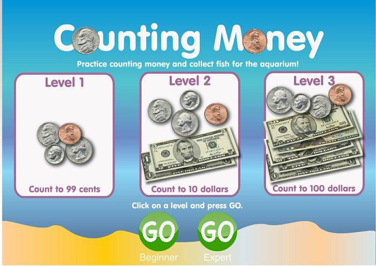 Learn to Count Money | Children practice counting money by clicking and dragging bills and coins into a box. A correct answer earns a fish for the fish bowl.