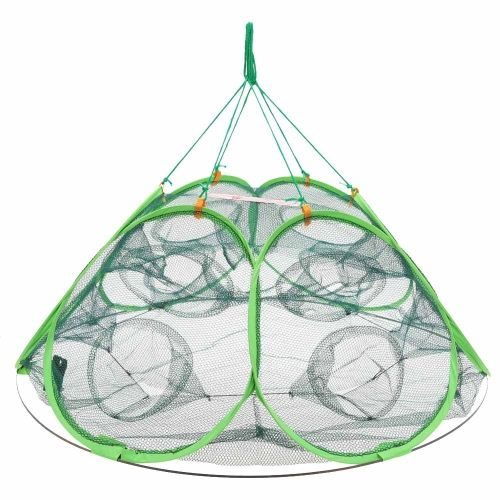 85 * 85 * 40cm 12 Holes Automatic Open Shrimp Lobster Fishing Bait Trap Cast Net Cage