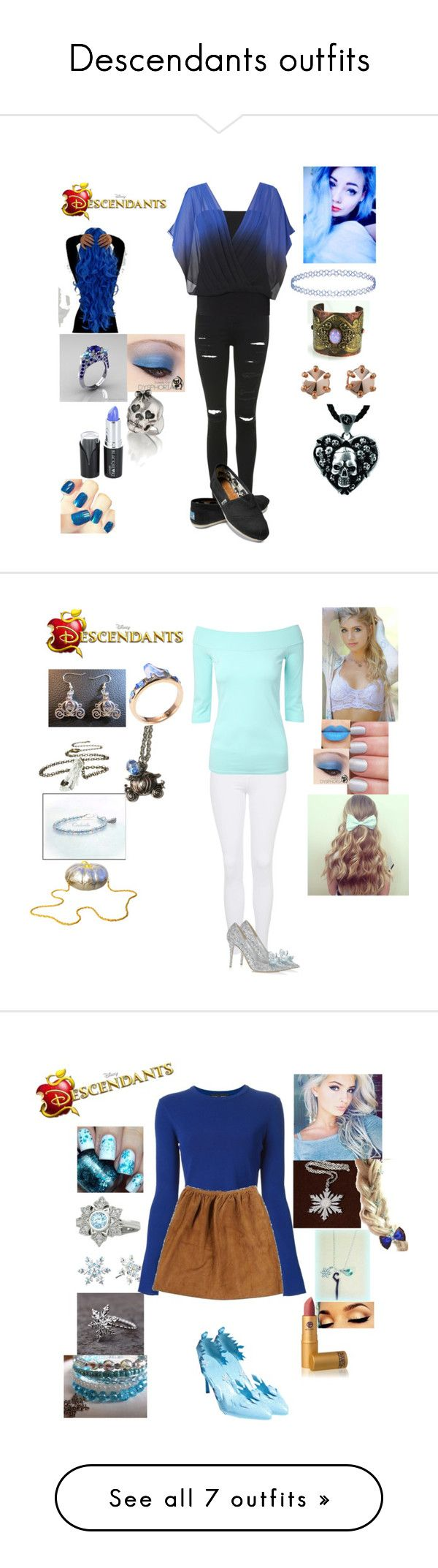 """Descendants outfits"" by maxinepotter ❤ liked on Polyvore featuring Topshop, Coast, TOMS, Marc by Marc Jacobs, Sheeva, disney, OC, Descendants, Jimmy Choo and Disney"