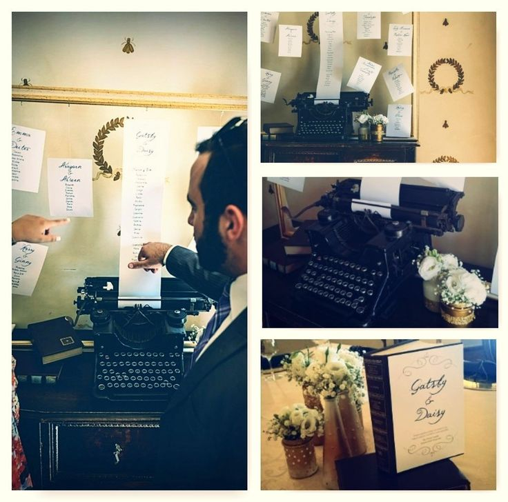 Vintage typewriter seating plan and book centrepiece