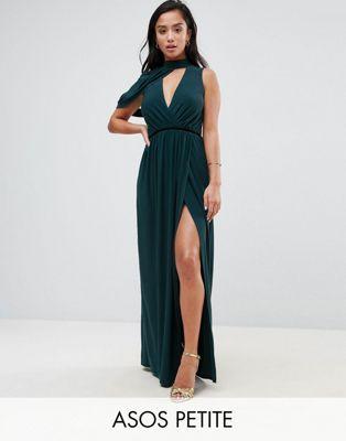 ASOS PETITE Cold Shoulder Detail Plunge Maxi Dress | Petite
