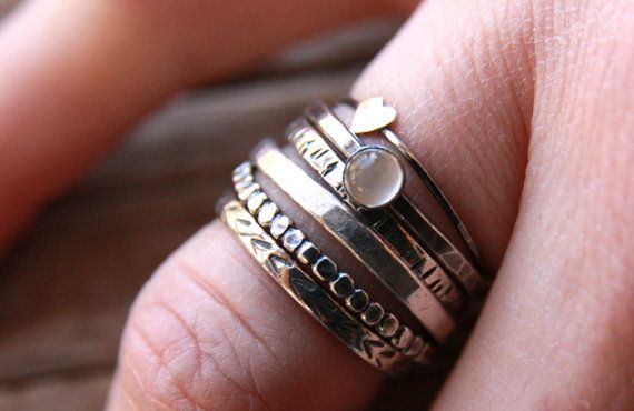 Unique, hand textured and hammered stacking rings. Forged sterling bands can also be personalized with a message. Please contact me if you wish to