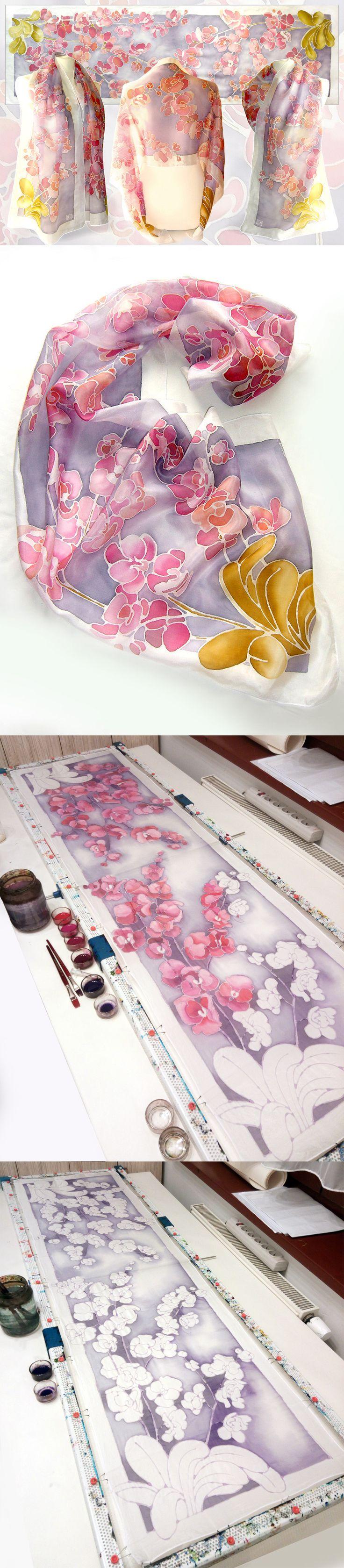 #silk #scarf #handpainted by #Malinowska Luiza #minkulul #orchid #floral #scarves