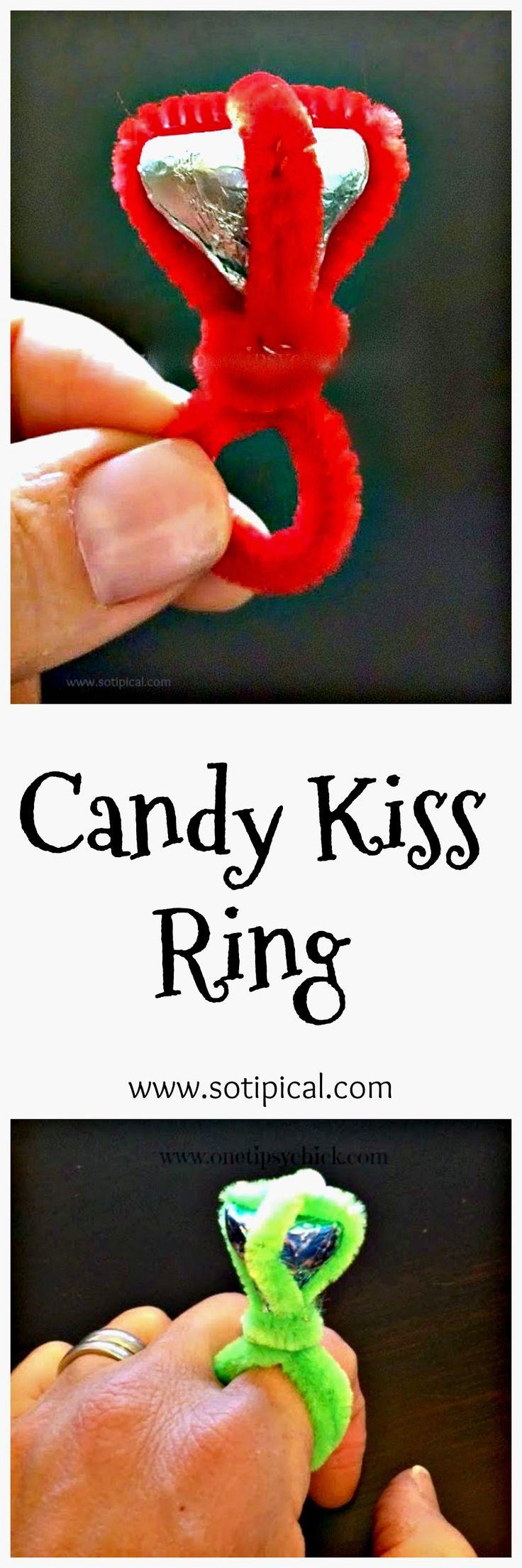 2db54e3d3835976a7c5f851e2a157b27 valentine crafts valentine ideas - Candy Kiss Ring 🍫|♡♢