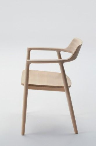 arm chair low wooden seat hiroshima designed by naoto fukasawa for maruni