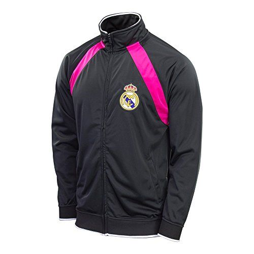 Real Madrid Jacket Track Soccer Adult Sizes Soccer Football Official Merchandise (BLACK, XL)
