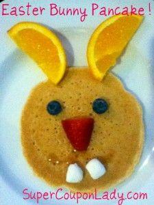 cute breakfast idea-Easter Bunny Pancakes!