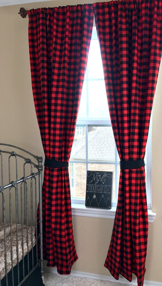 Red And Black Curtain Panels Buffalo Check Plaid Curtains