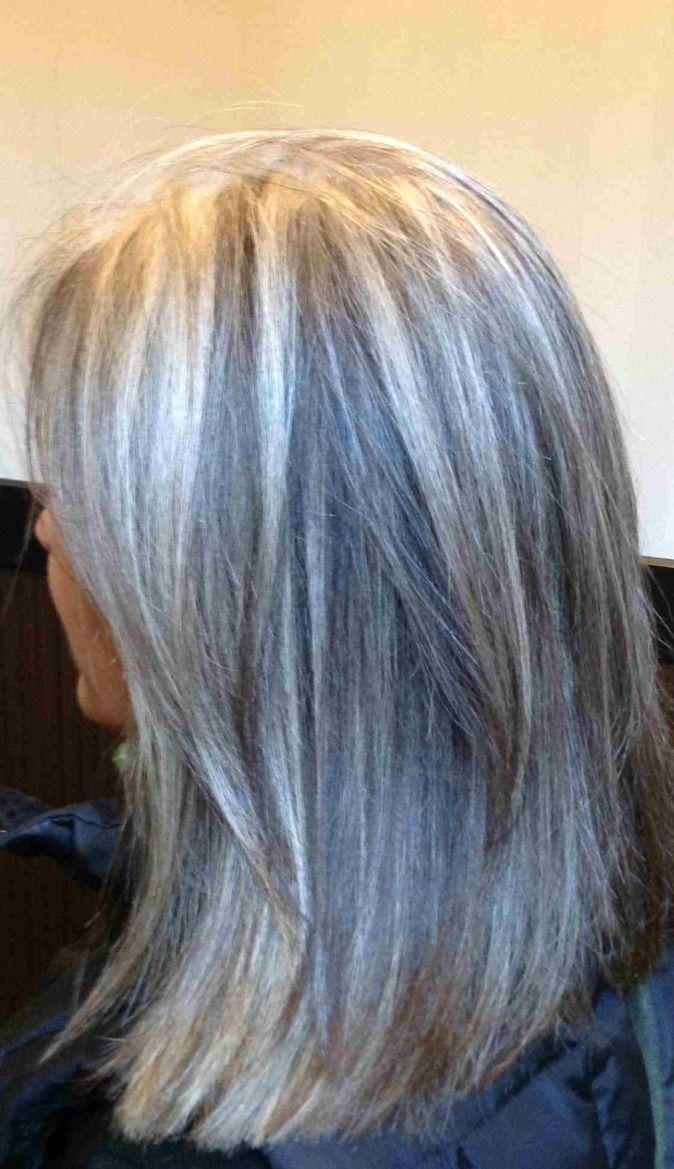 """Blonde highlights for gray hair - here's a good idea to camouflage gray hair with blonde/gray-ish highlights.  Upkeep would be easier if the highlights are more """"grey"""" than blonde so not as noticeable when roots grow out."""