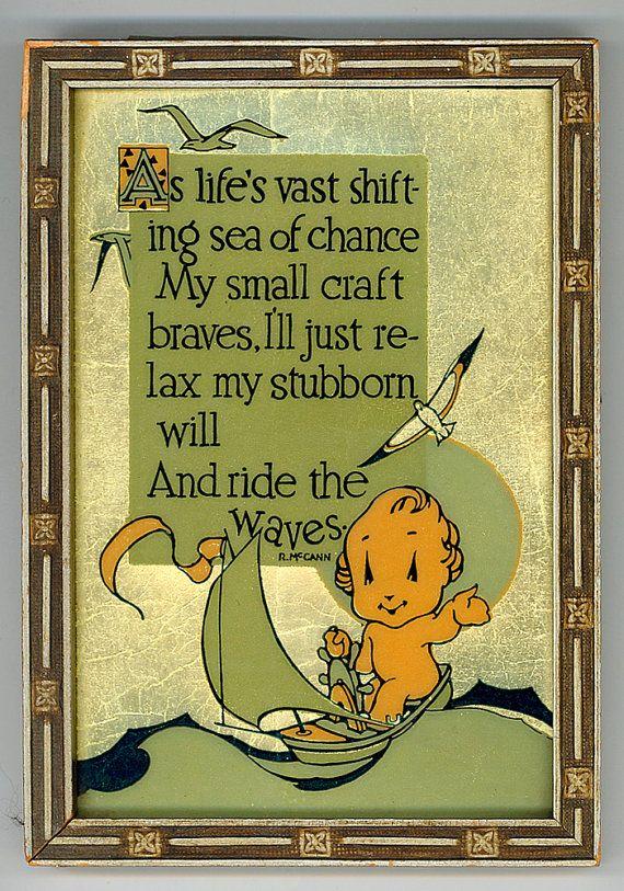 Vintage Buzza Company Motto / Saying  RIDE THE WAVES by AttiCuties