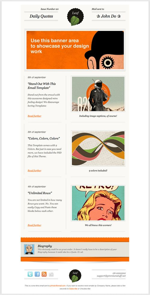 Beautiful Email Newsletters » Blog Archive » Leaf Retro