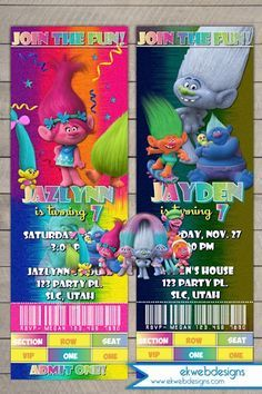 Trolls Movie Ticket Birthday Invitations - Dreamworks Trolls Movie 2016 party Invitations