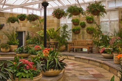 Love this indoor garden look!  Like the clusters of plants/flowers, the varied heights and textures, the hanging baskets, the curves, and teh stone.