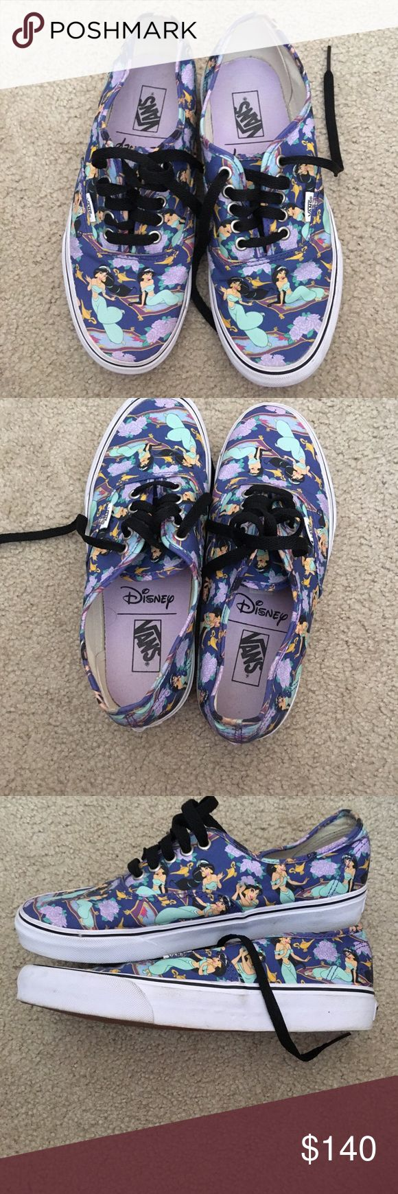 Disney Jasmine Vans Worn a few times. Mens 7.5, womens 9. Only selling because they no longer fit and I never got around to wearing them as much as I would have liked!🙁 Some marks throughout but nothing major. Reasonable offers welcomed, but please just keep in mind when sending over offers that these were limited edition and are no longer available! No trades. Vans Shoes Sneakers