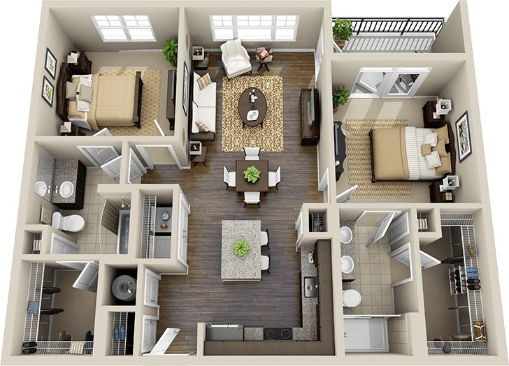 1000 Ideas About Two Bedroom Apartments On Pinterest