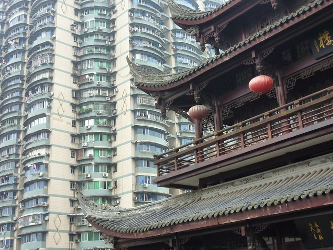 Towering apartments in Chongqing, China. Modern and Traditional Architecture Coexists