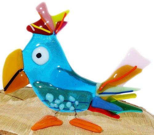 Kleurrijke glazen papegaai! Vrolijke vogel van glas uit eigen atelier