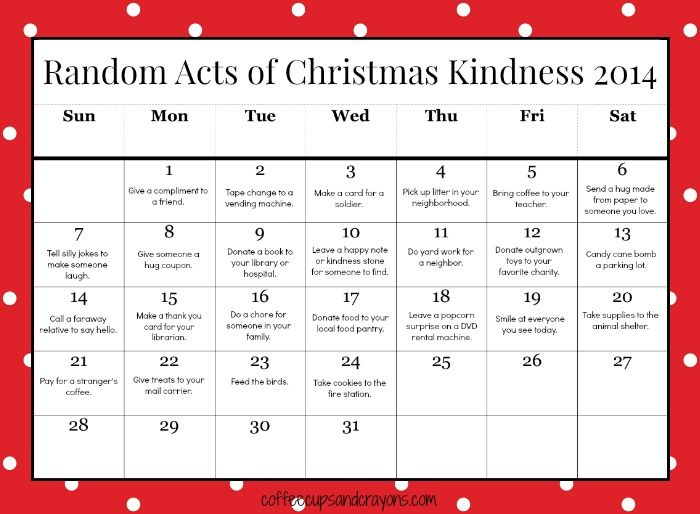 Such a fun project to do with your children or grandchildren. Free Printable Random Acts of Christmas Kindness Calendar for Kids!